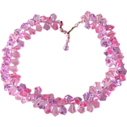 Necklace Bright Pink Lucite Crystal Vintage Hong Kong