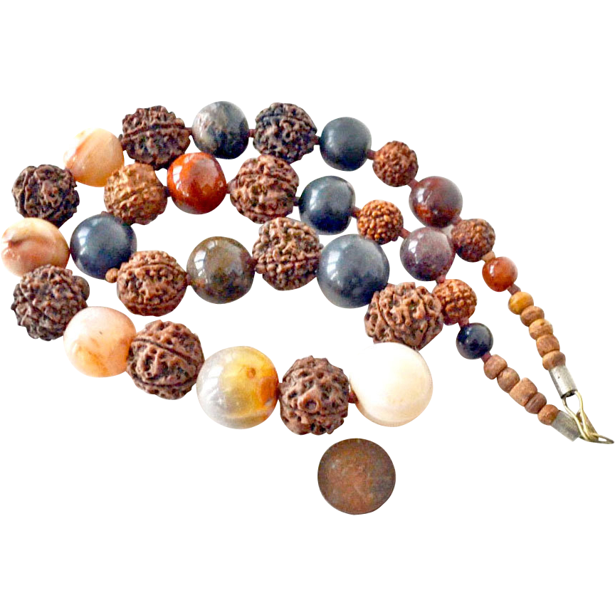 Necklace Massive Stone Beads and Pits
