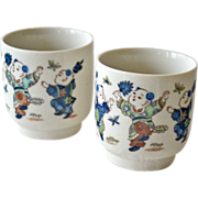 Two Chinese Cups or Bowls with Children Chasing Butterflies