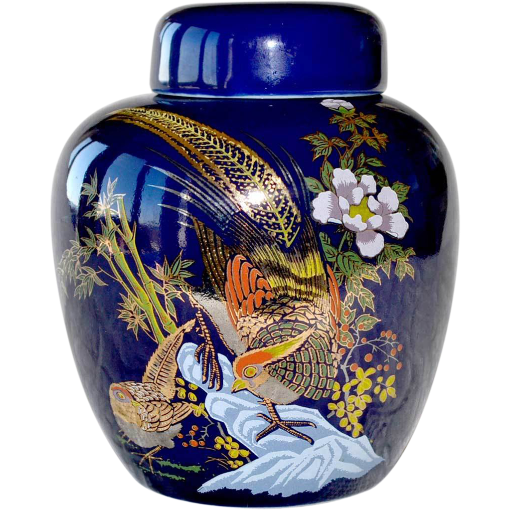 Cobalt Ginger Jar  Bird of Paradise