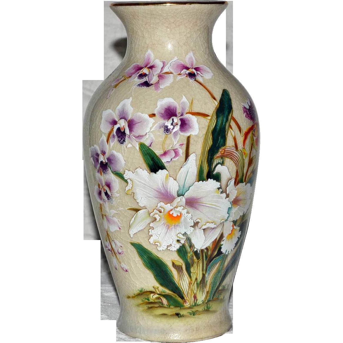 Vase White Orchid Porcelain Toyo Japan