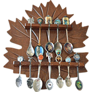 Spoon Rack and Twelve Souvenir Spoons Two Hummel Christmas Spoons
