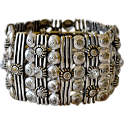 Wide Cuff Panel Bracelet with Rhinestones