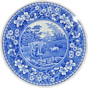 Spode Milk Maid Collectible Pottery Plate Blue and White