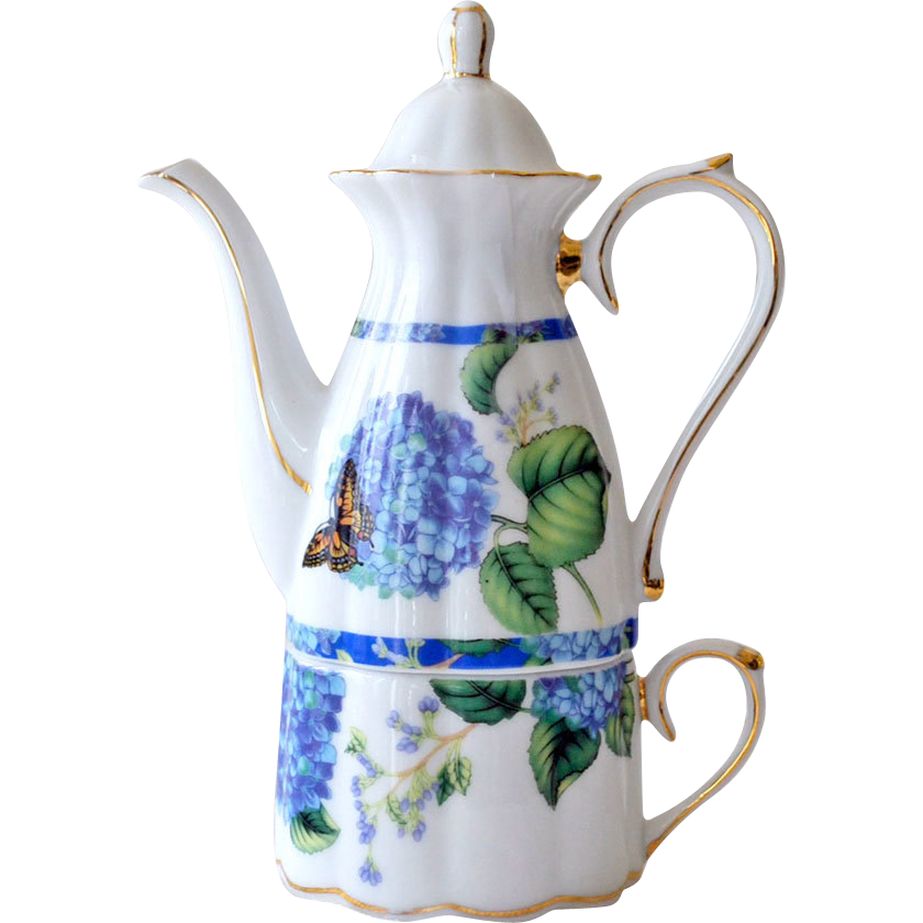 Demitasse or Espresso Pot with Cup Butterfly Flowers