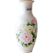 Vase with Peonies Hand Painted Japan