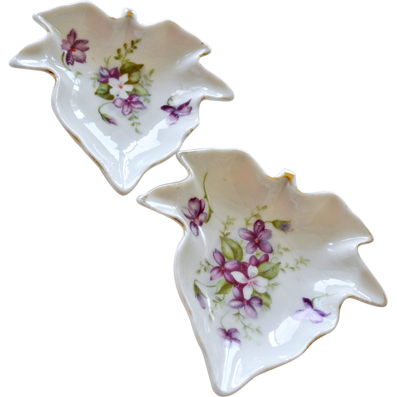 Two Nesting Lefton Porcelain Dishes with Hand Painted Violets