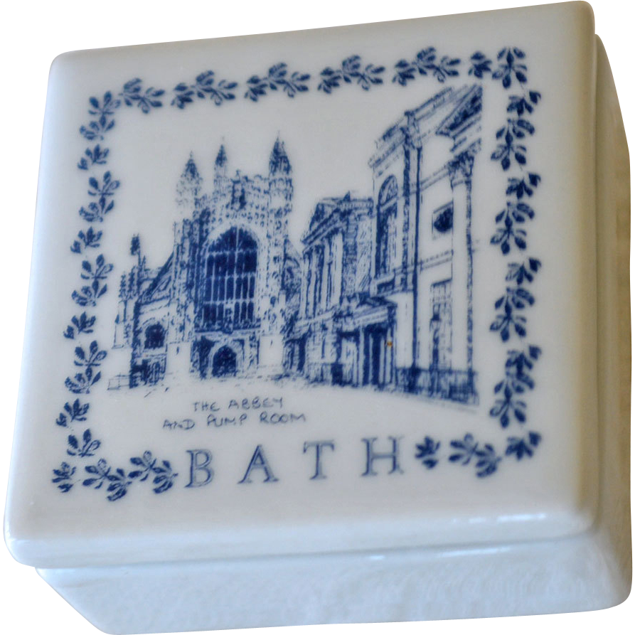 Blue and White Porcelain Box Souvenir Bath England