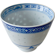 Blue and White Chinese Cup Rice Porcelain