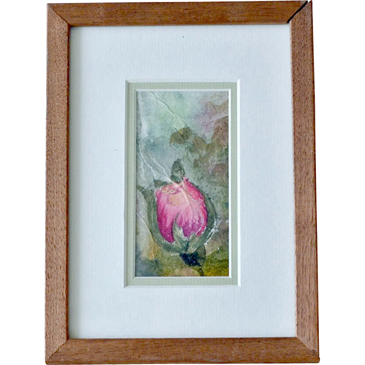 Small Watercolor Painting Single Rosebud