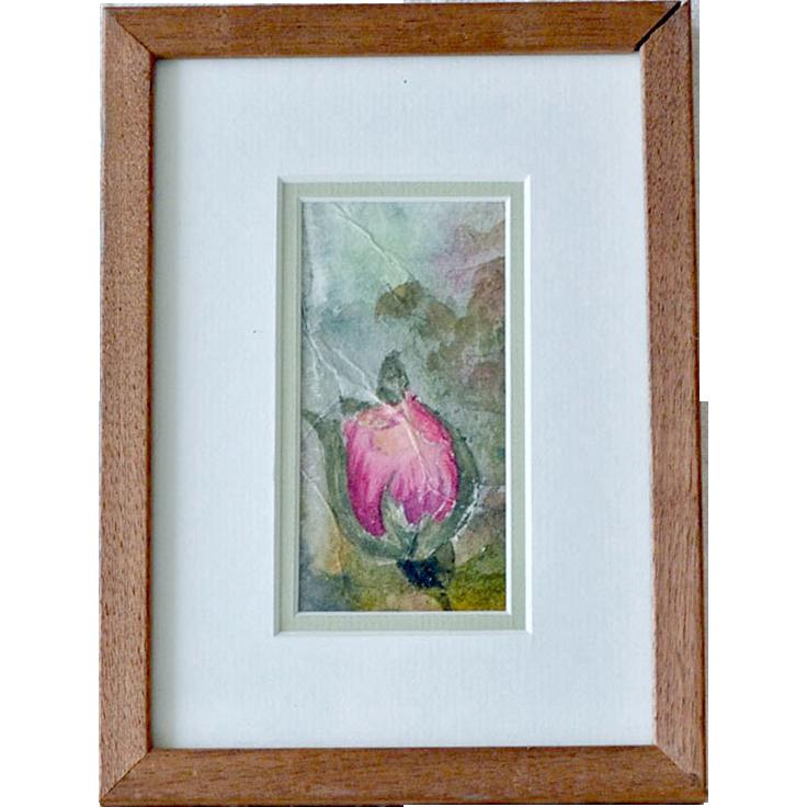 Small Watercolor Painting Single Rosebud