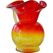 Pitcher Amberina Crackle Glass Over 5 Inches