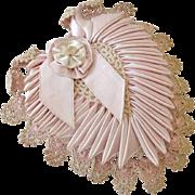 Beautiful Old Sachet Heart Crochet Lace and Satin Ribbon