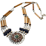 Necklace Ethnic Style Wood with Medallion