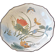 Plate Japan Hand painted Butterfly Kutani Satsuma