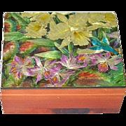 Cedar Jewelry Box with Hummingbird and Iris Flowers - Red Tag Sale Item