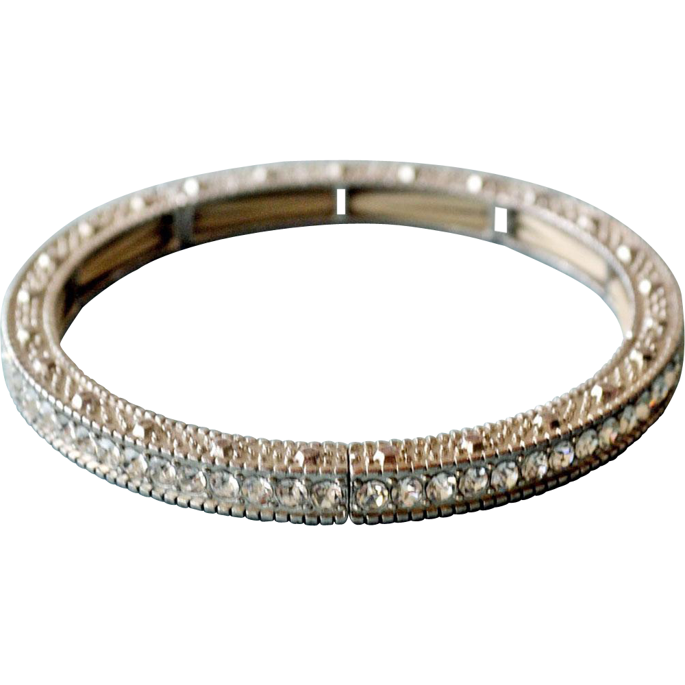 Rhinestone Bangle Bracelet Channel Set