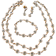 Open Back Clear Glass Crystal Necklace Bracelet Earrings Set Parure