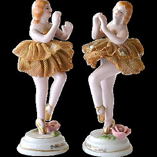 Porcelain  and Lace Ballerina Figurines Japan Vintage