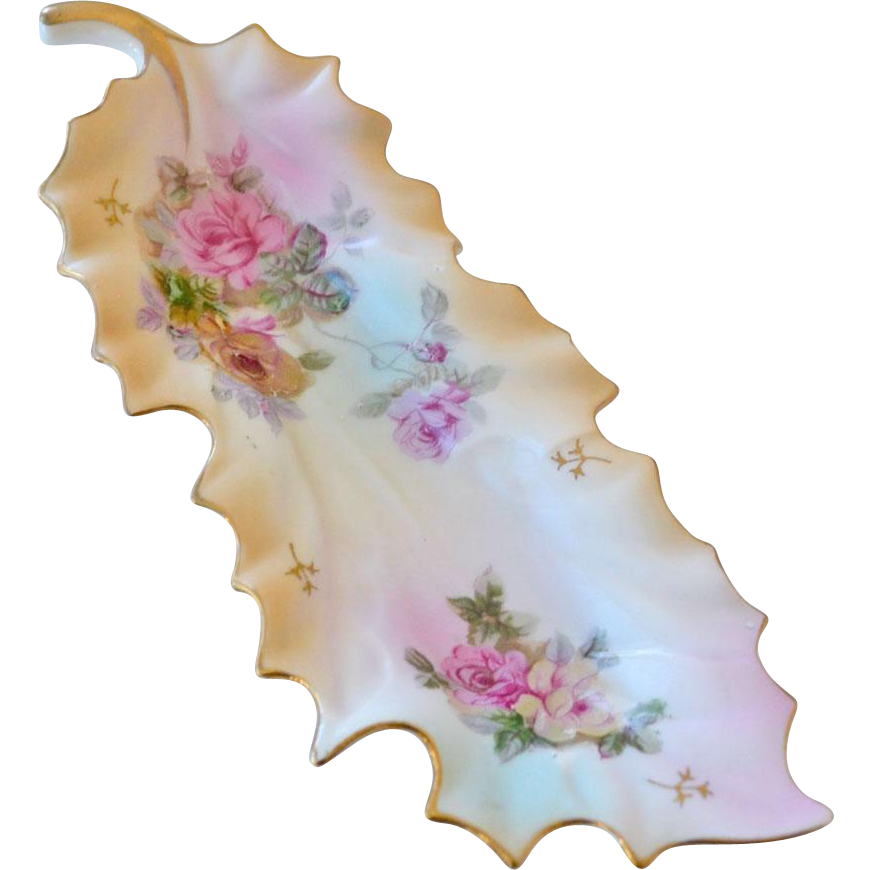 Porcelain Leaf Shape Candy Dish with Roses