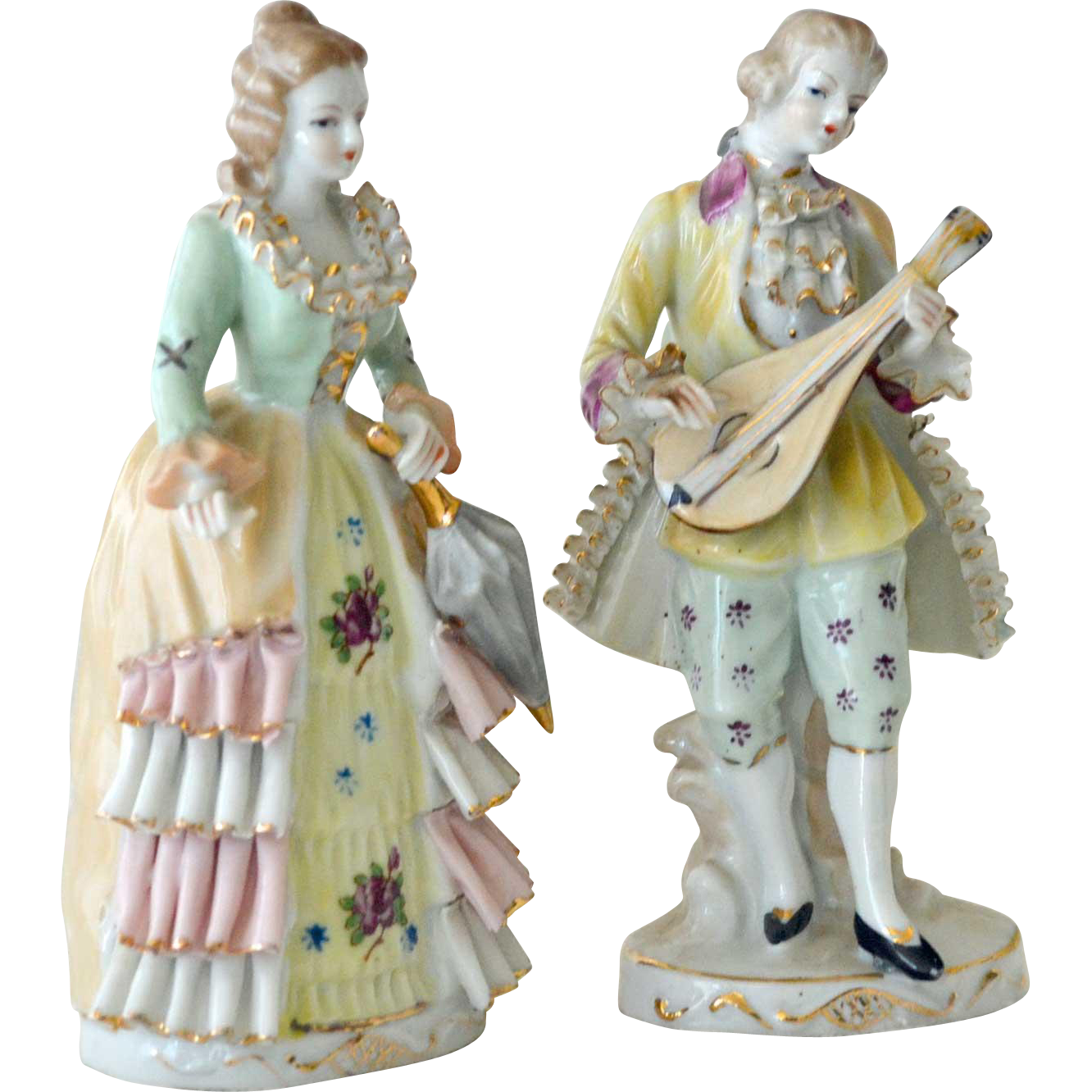 Porcelain Romantic Couple Figurines Japan Finely Made