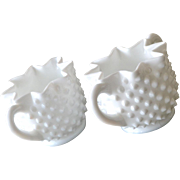 Fenton Hobnail Milk Glass Sugar and Creamer