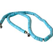 Necklace Rolled Turquoise Beads