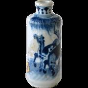 Chinese Snuff Bottle Blue White Horses