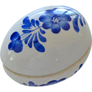 Porcelain Egg Trinket Box Blue and White