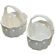 Pair White Porcelain Baskets Pierced