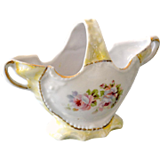 Small Porcelain Basket Germany Yellow and White