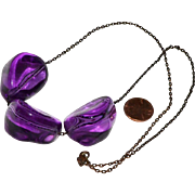 Necklace Huge Purple Lucite Nuggets on Gunmetal Chain