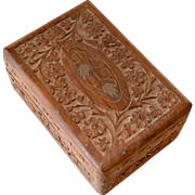 Wood Box Carved Tramp Art Floral Design