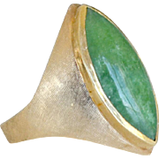 Jade Ring Marquise Shape 14k 11 Grams Unisex