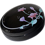 Porcelain Trinket Box Black with Orchids