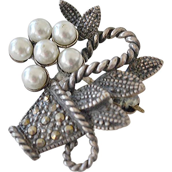 Sterling Marcasite and Pearl Basket Pin