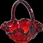 Fenton Basket Thumbprint Ruby Glass