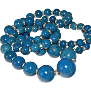 Natural Lapis Necklace 32 Inches Large Beads 14K