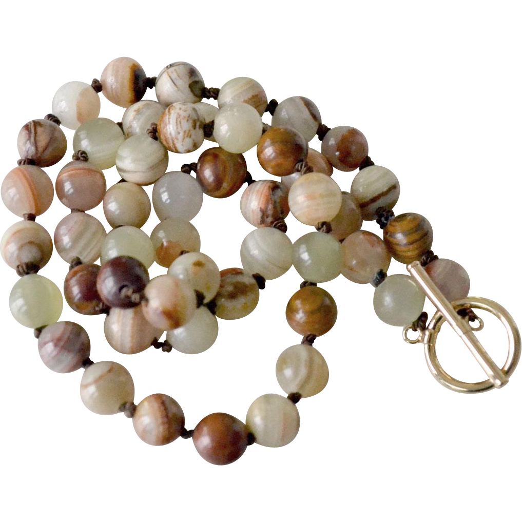 Necklace Banded Agate Stone Beads Hand Knotted