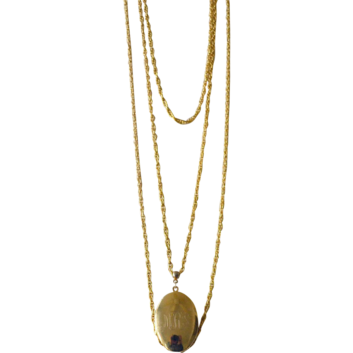 Locket Necklace Three Strands 30 Inches