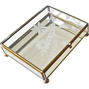 Jewelry Box Etched Glass Flower