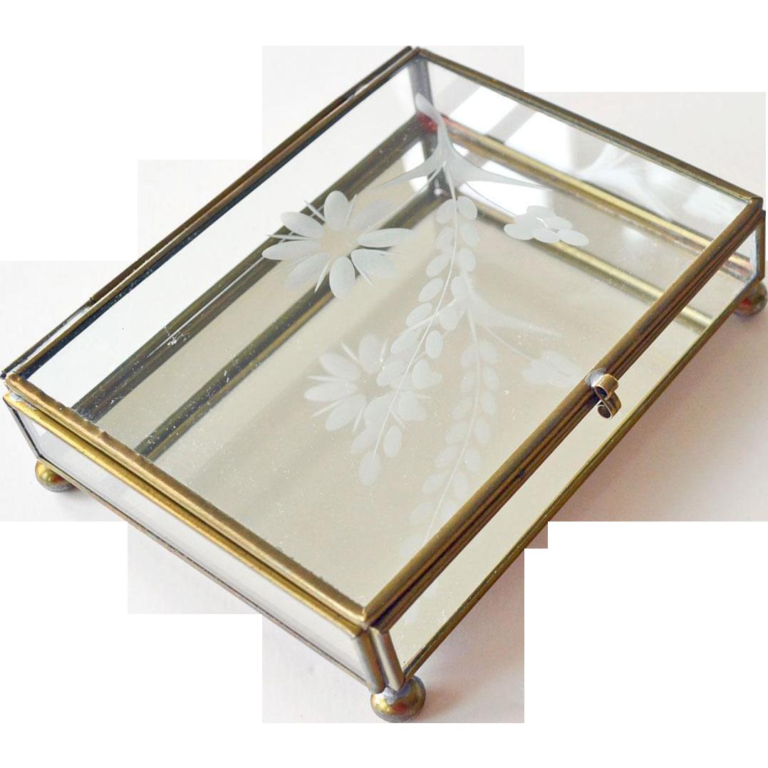 Jewelry Box Etched Glass Flower