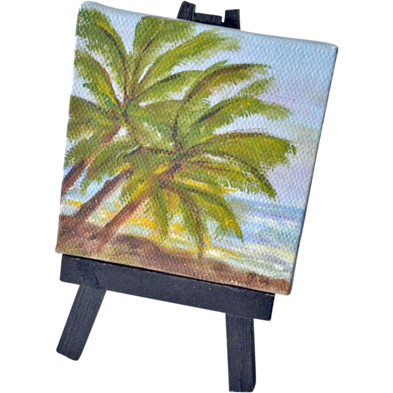 Miniature Original Painting Palms on Beach