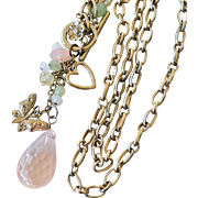 Necklace Crystal Pendant Charms Big Links 30 Inches