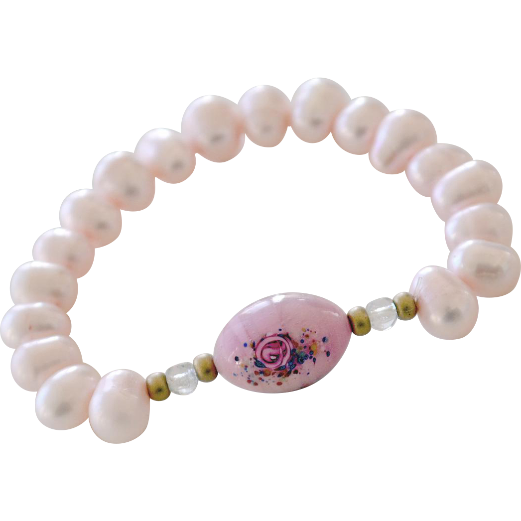 Pink Freshwater Pearl Bracelet with Art Glass Bead