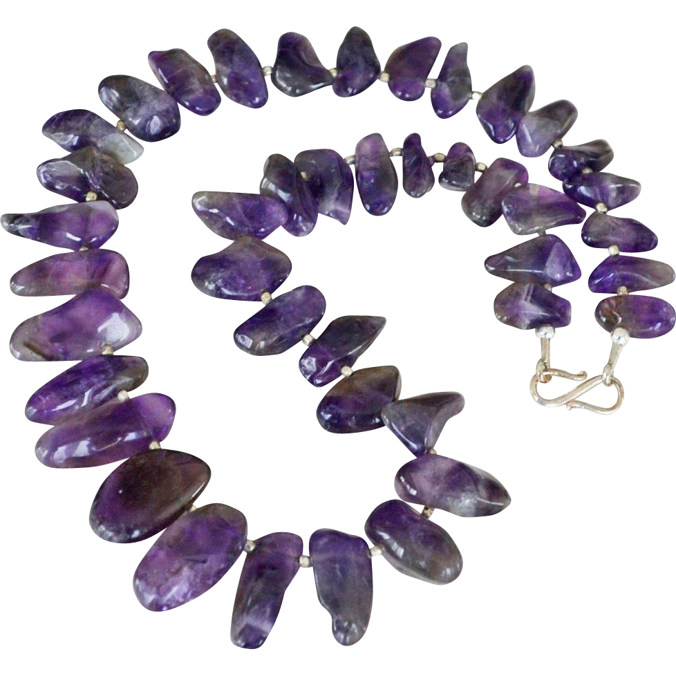 Polished Amethyst Necklace Big Stones