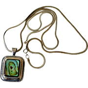 Necklace Paua Shell Pendant 24 Inch Chain Sterling Silver