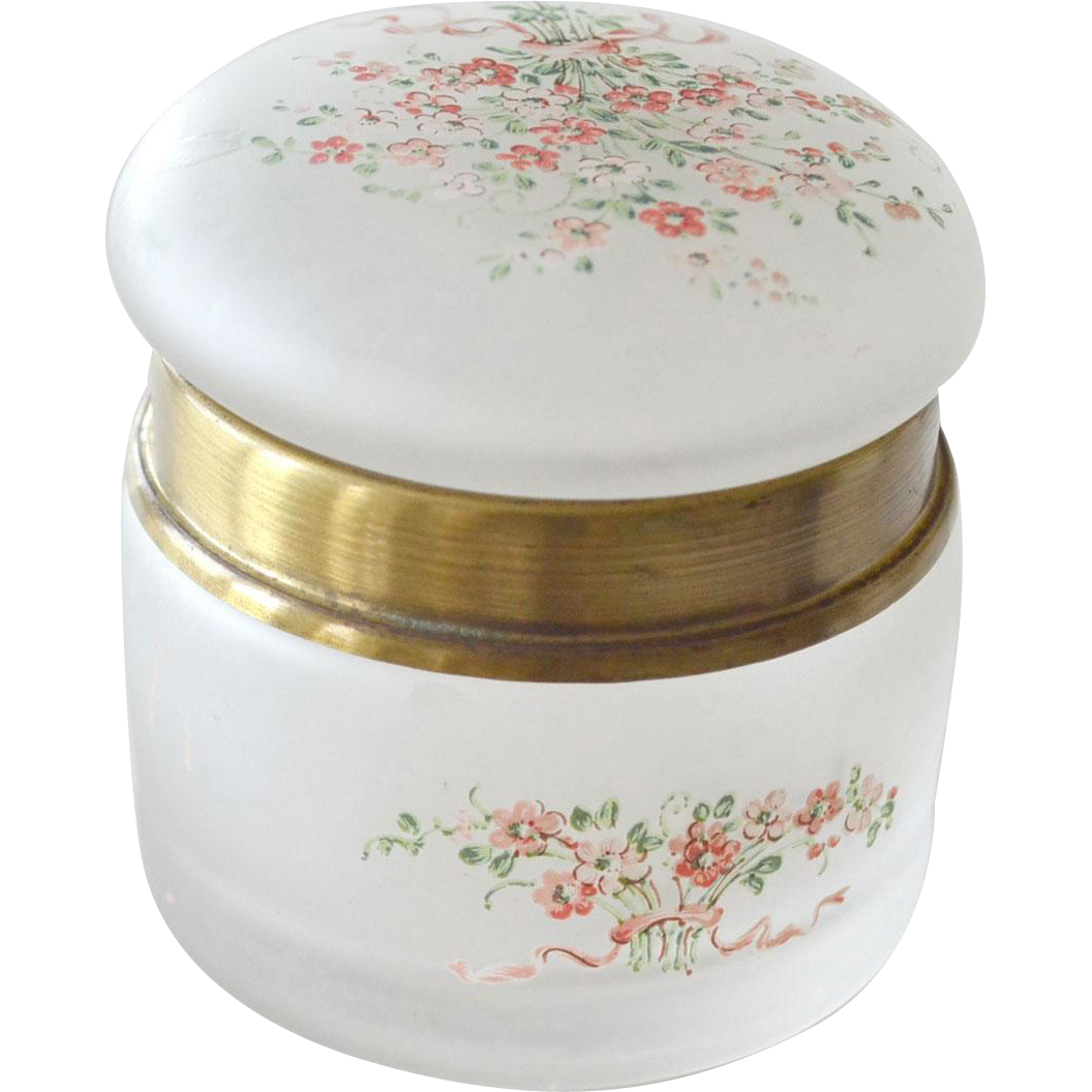 Frosted Glass Dresser Jar Hand Painted