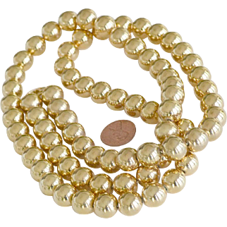 Gold Fill Bead Necklace on Chain 36 Inches