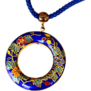 Necklace Cloisonne Cobalt Blue Pendant